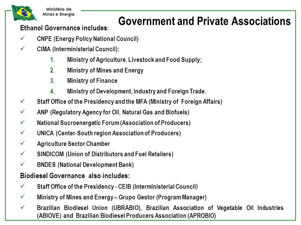 Ministério de Minas e Energia Government and Private Associations Ethanol Governance includes : CNPE (Energy Policy National Council) CIMA (Interminis