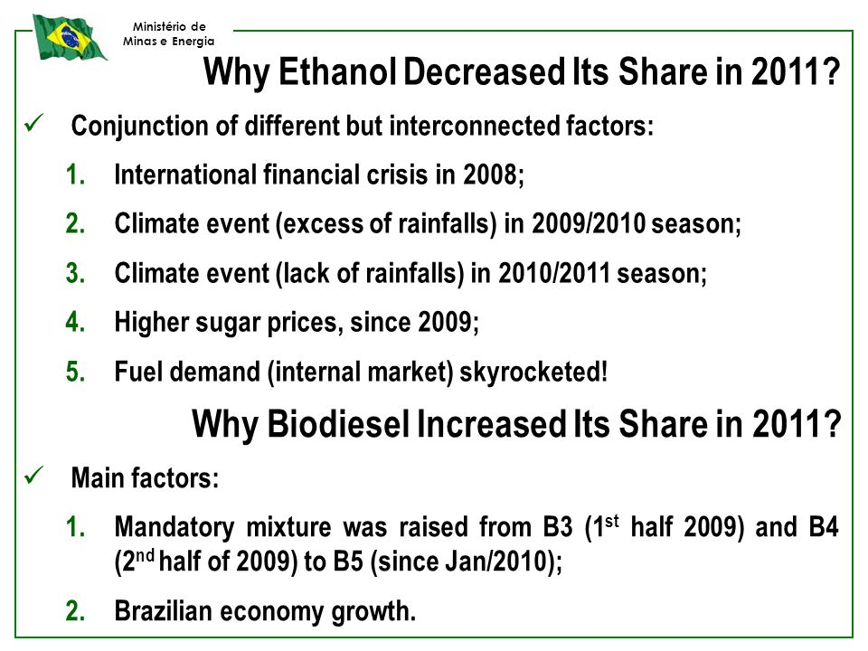 Ministério de Minas e Energia Why Ethanol Decreased Its Share in 2011? Conjunction of different but interconnected factors: 1.International financial