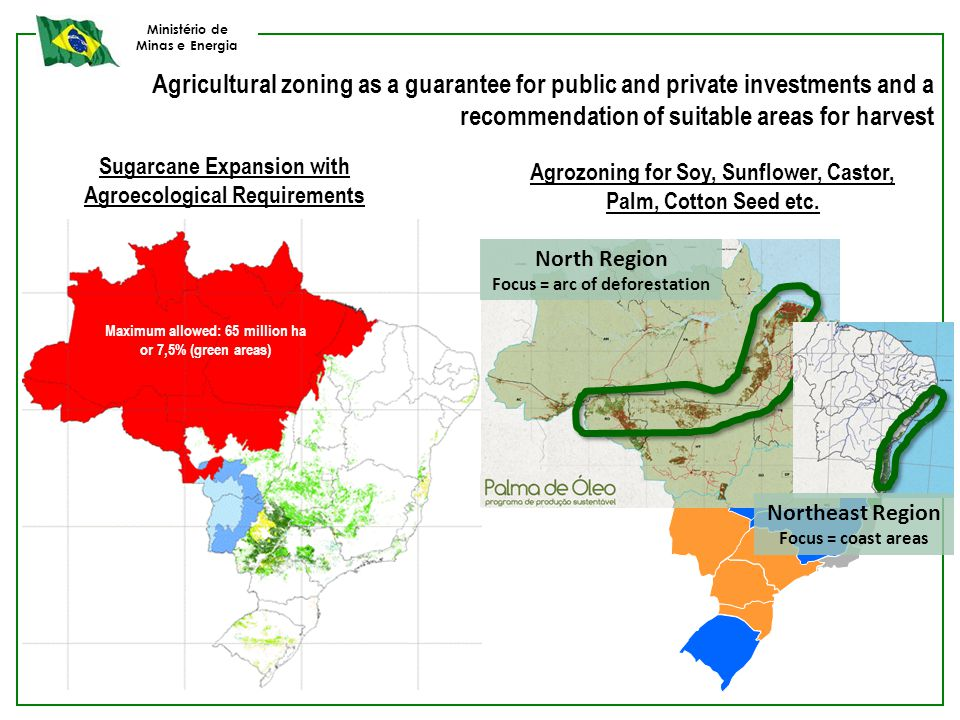 Ministério de Minas e Energia Sugarcane Expansion with Agroecological Requirements Agrozoning for Soy, Sunflower, Castor, Palm, Cotton Seed etc. Maxim