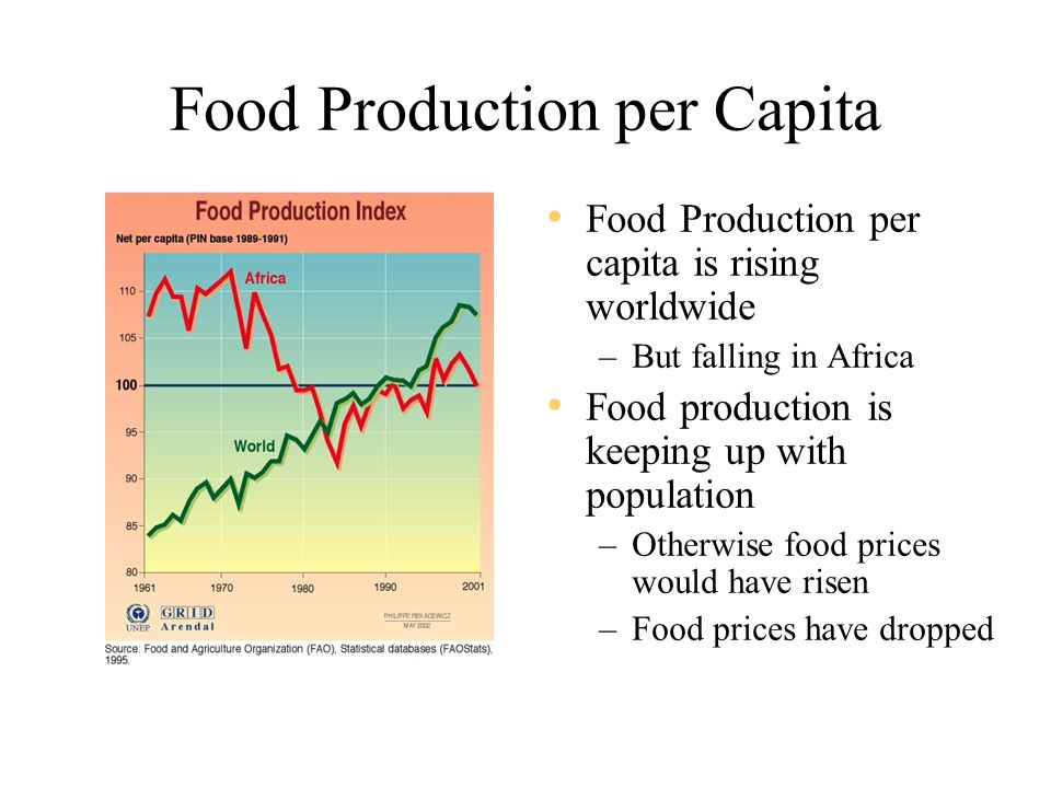 Food Production per Capita Food Production per capita is rising worldwide –But falling in Africa Food production is keeping up with population –Otherwise food prices would have risen –Food prices have dropped