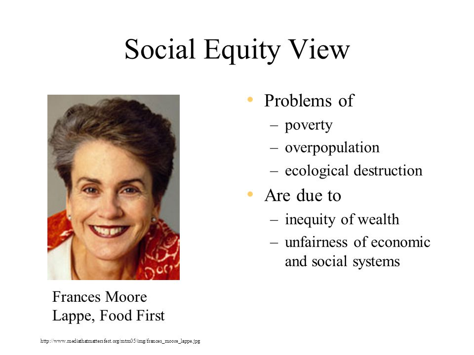 Social Equity View Problems of –poverty –overpopulation –ecological destruction Are due to –inequity of wealth –unfairness of economic and social systems Frances Moore Lappe, Food First http://www.mediathatmattersfest.org/mtm05/img/frances_moore_lappe.jpg