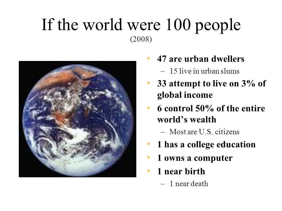 If the world were 100 people (2008) 47 are urban dwellers –15 live in urban slums 33 attempt to live on 3% of global income 6 control 50% of the entire world's wealth –Most are U.S.