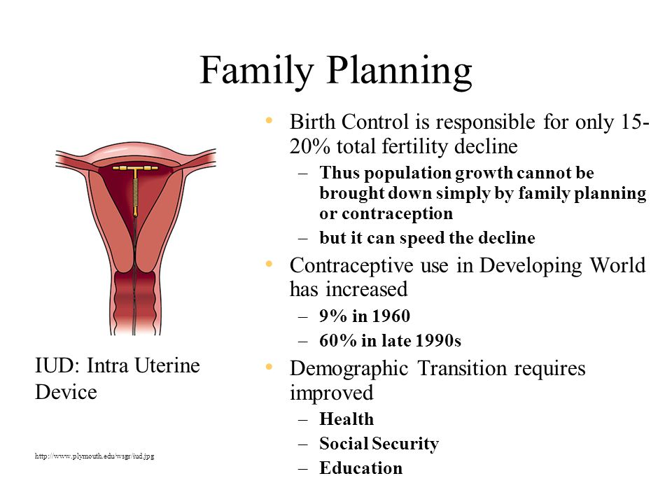 Family Planning Birth Control is responsible for only 15- 20% total fertility decline –Thus population growth cannot be brought down simply by family planning or contraception –but it can speed the decline Contraceptive use in Developing World has increased –9% in 1960 –60% in late 1990s Demographic Transition requires improved –Health –Social Security –Education IUD: Intra Uterine Device http://www.plymouth.edu/wsgr/iud.jpg