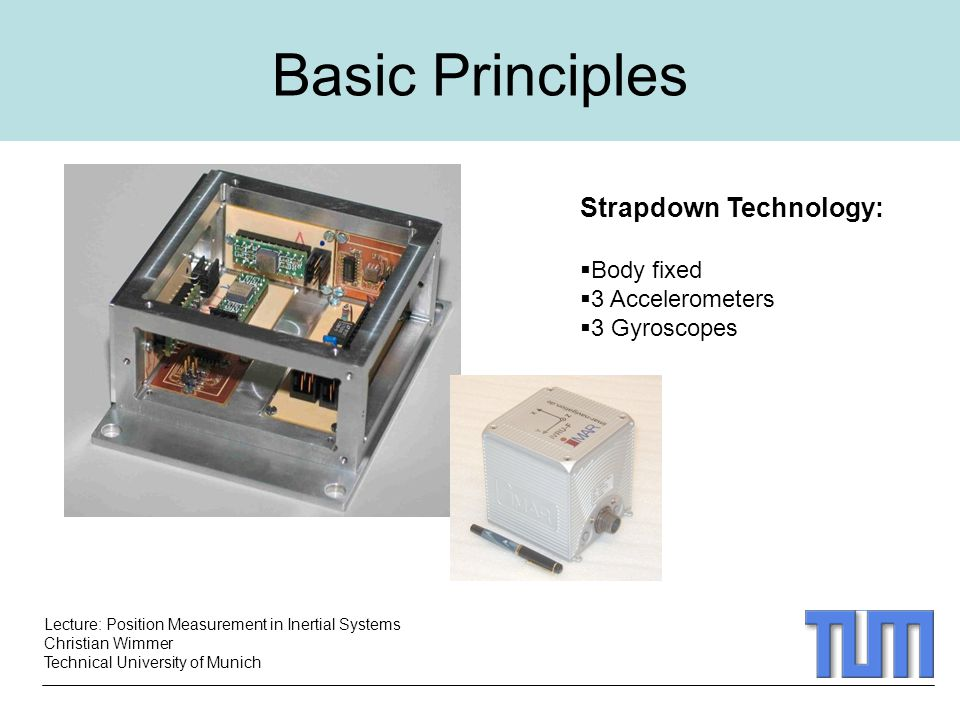 Lecture: Position Measurement in Inertial Systems Christian Wimmer Technical University of Munich Basic Principles Strapdown Technology:  Body fixed  3 Accelerometers  3 Gyroscopes