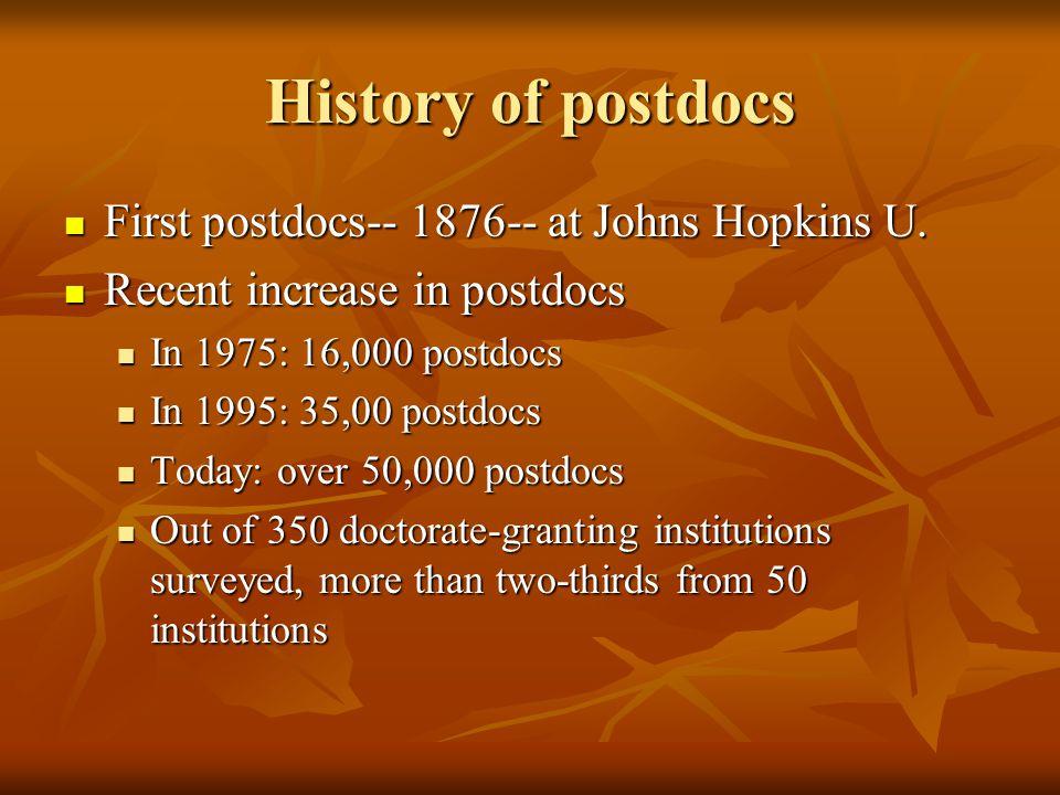 History of postdocs First postdocs-- 1876-- at Johns Hopkins U.