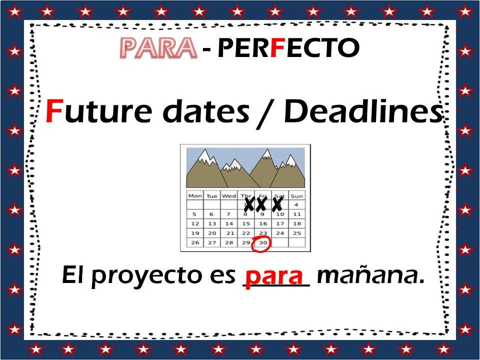 Future dates / Deadlines para