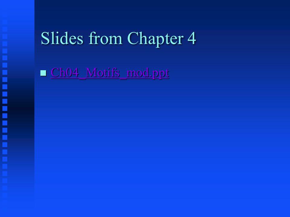 Slides from Chapter 4 Ch04_Motifs_mod.ppt Ch04_Motifs_mod.ppt Ch04_Motifs_mod.ppt