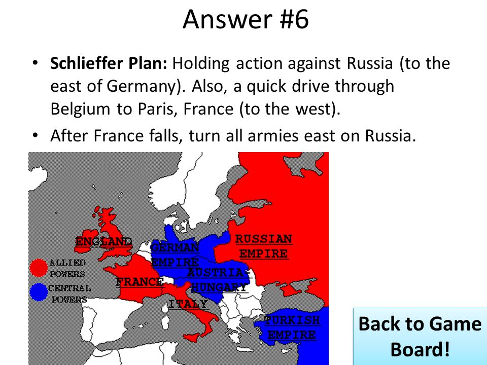 Answer #6 Schlieffer Plan: Holding action against Russia (to the east of Germany).