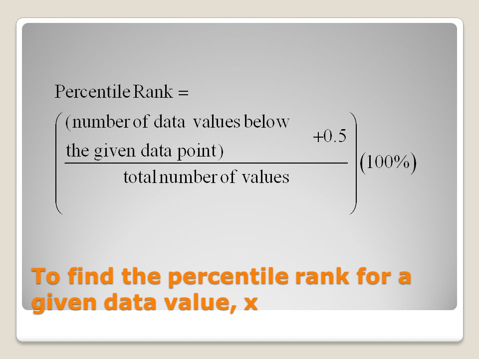 To find the percentile rank for a given data value, x