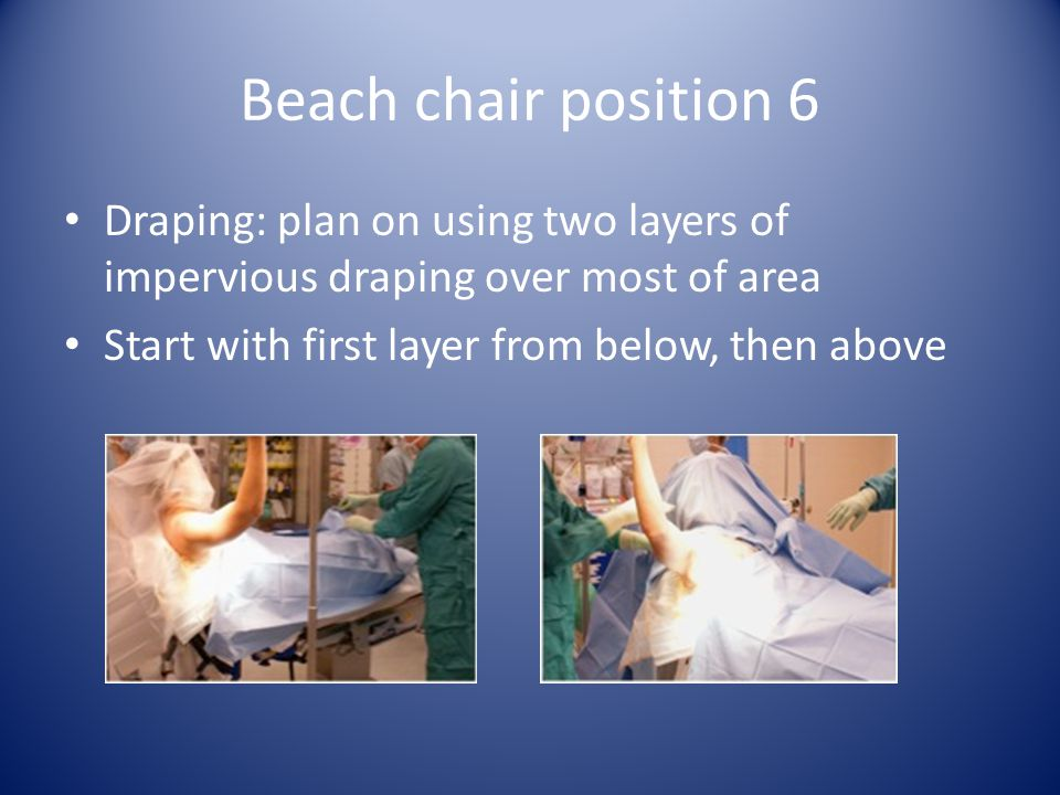 Beach chair position 6 Draping: plan on using two layers of impervious draping over most of area Start with first layer from below, then above