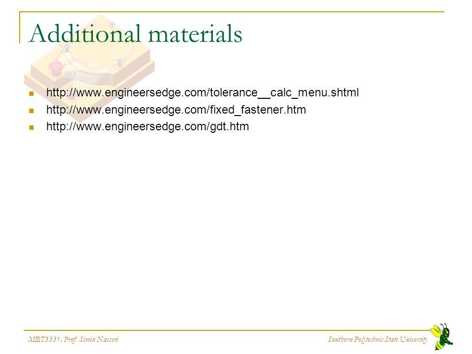 MET3331, Prof Simin Nasseri Southern Polytechnic State University Additional materials http://www.engineersedge.com/tolerance__calc_menu.shtml http://