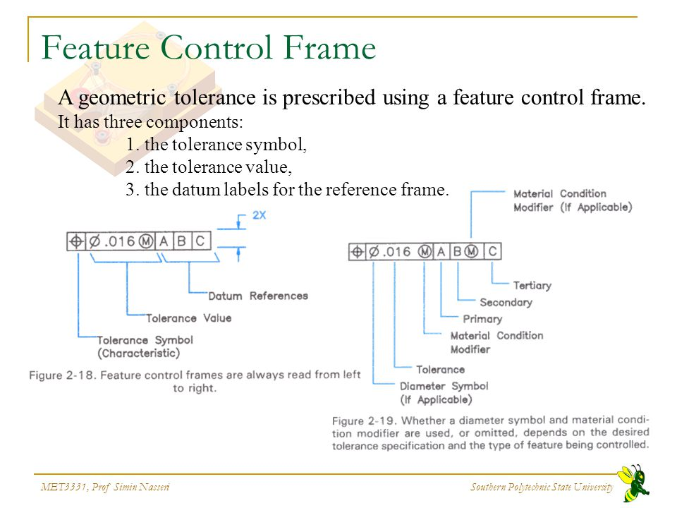 MET3331, Prof Simin Nasseri Southern Polytechnic State University Feature Control Frame A geometric tolerance is prescribed using a feature control fr