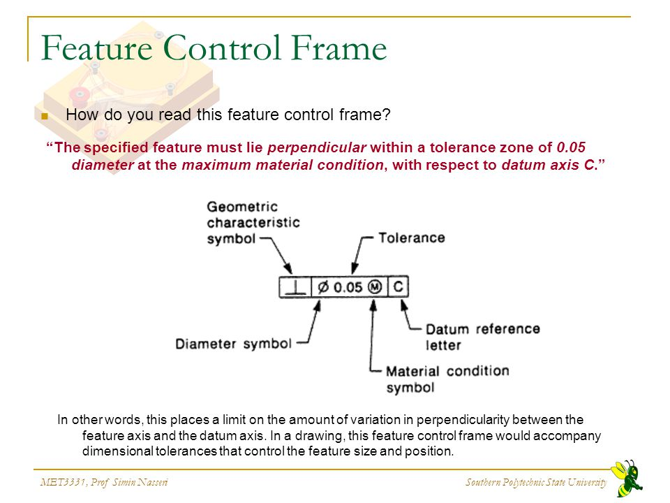"""MET3331, Prof Simin Nasseri Southern Polytechnic State University Feature Control Frame How do you read this feature control frame? """"The specified fea"""