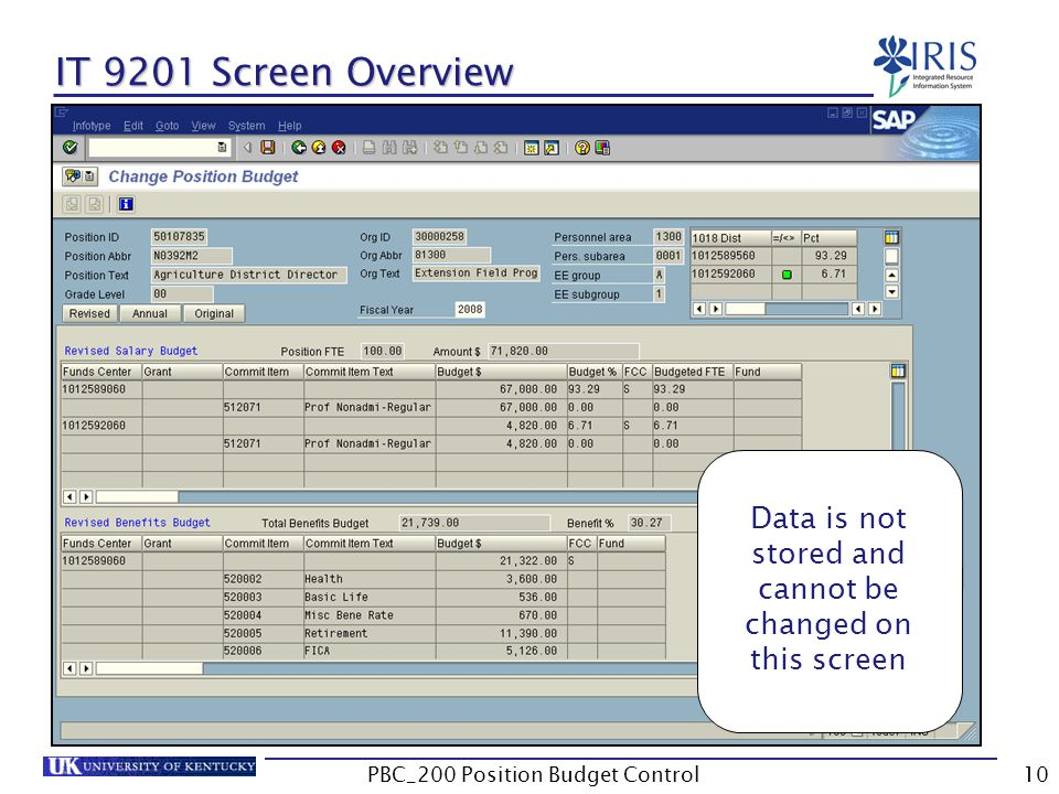 IT 9201 Screen Overview Data is not stored and cannot be changed on this screen 10PBC_200 Position Budget Control
