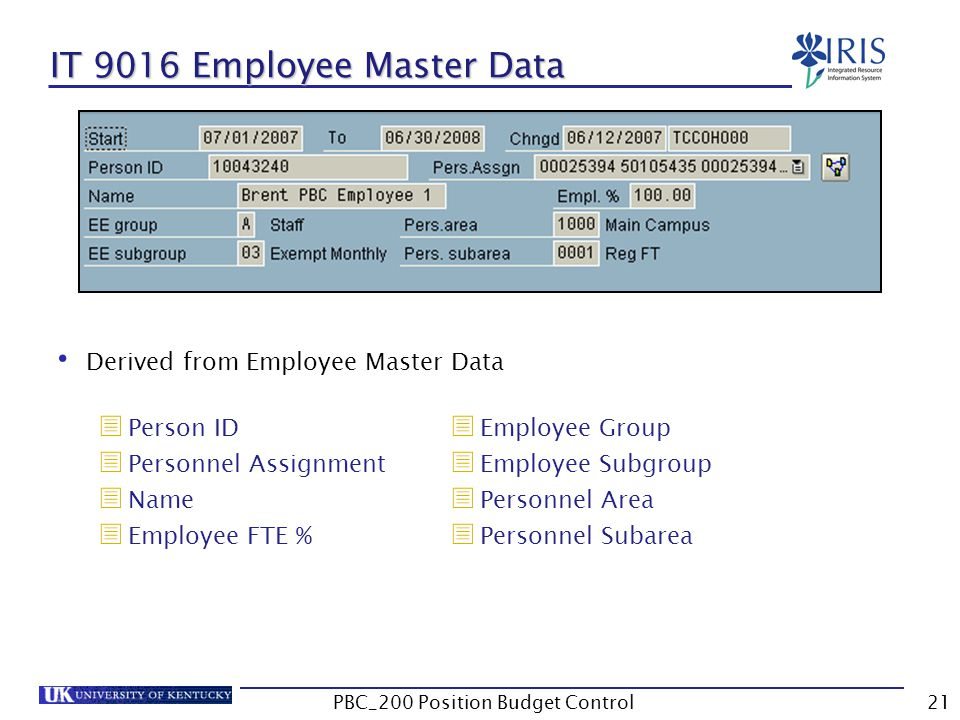 Derived from Employee Master Data  Person ID  Personnel Assignment  Name  Employee FTE % IT 9016 Employee Master Data  Employee Group  Employee Subgroup  Personnel Area  Personnel Subarea 21PBC_200 Position Budget Control