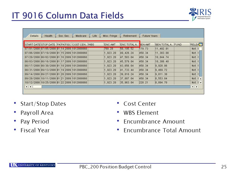 IT 9016 Column Data Fields Start/Stop Dates Payroll Area Pay Period Fiscal Year Cost Center WBS Element Encumbrance Amount Encumbrance Total Amount 25PBC_200 Position Budget Control