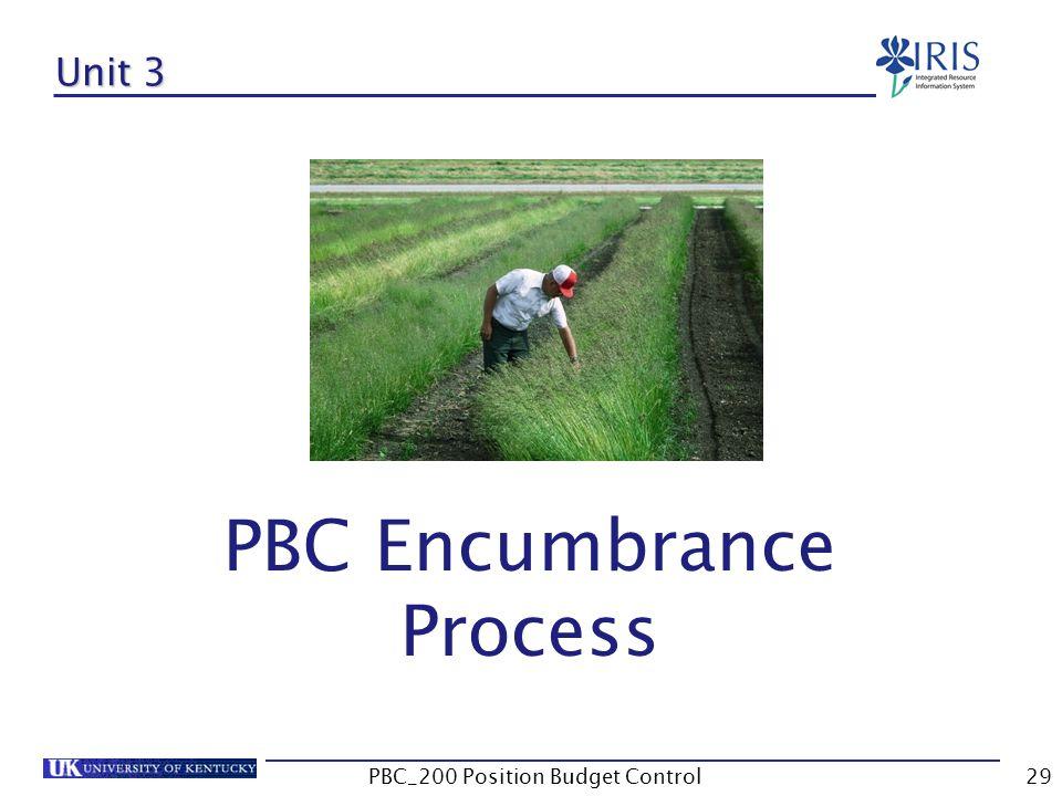 Unit 3 PBC Encumbrance Process 29PBC_200 Position Budget Control