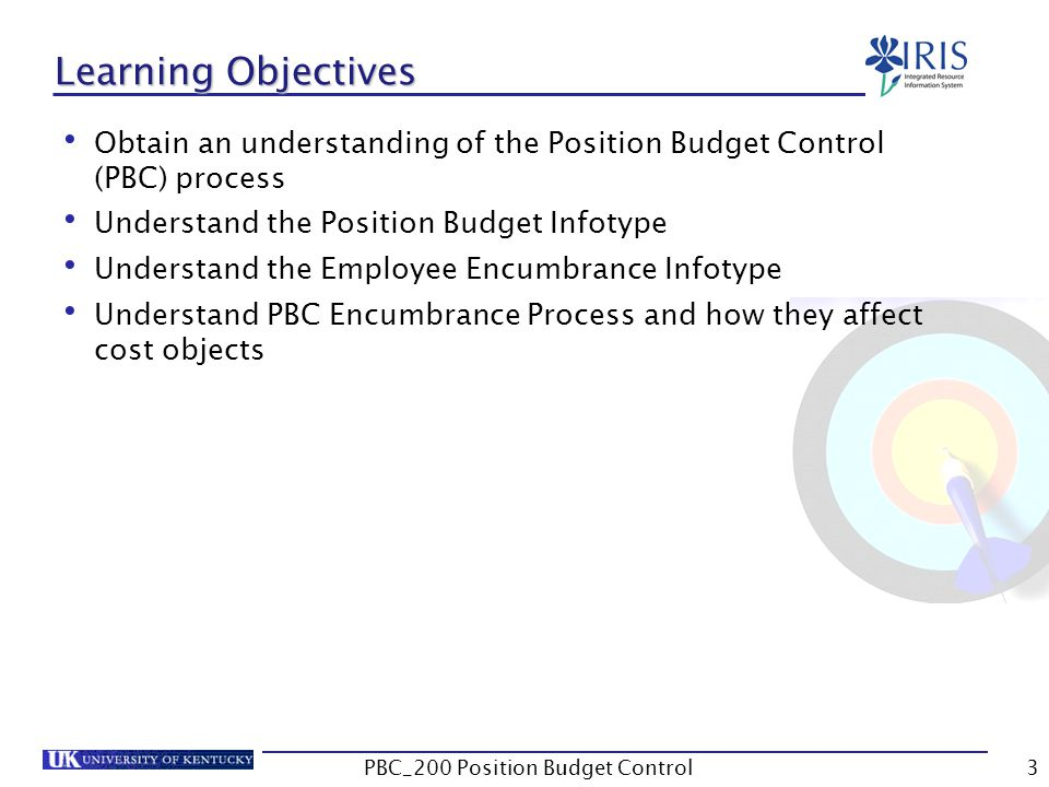 Learning Objectives Obtain an understanding of the Position Budget Control (PBC) process Understand the Position Budget Infotype Understand the Employee Encumbrance Infotype Understand PBC Encumbrance Process and how they affect cost objects 3PBC_200 Position Budget Control