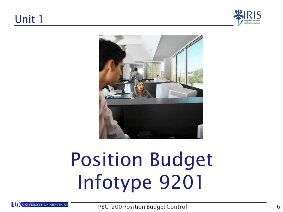 Unit 1 Position Budget Infotype 9201 6PBC_200 Position Budget Control