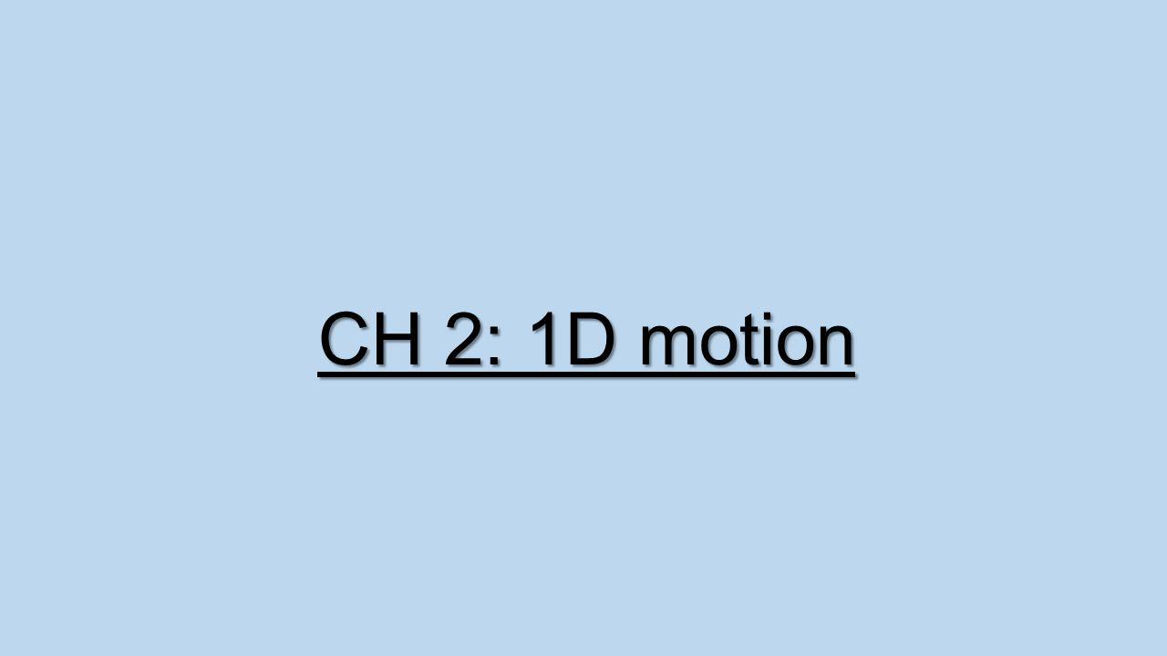 CH 2: 1D motion