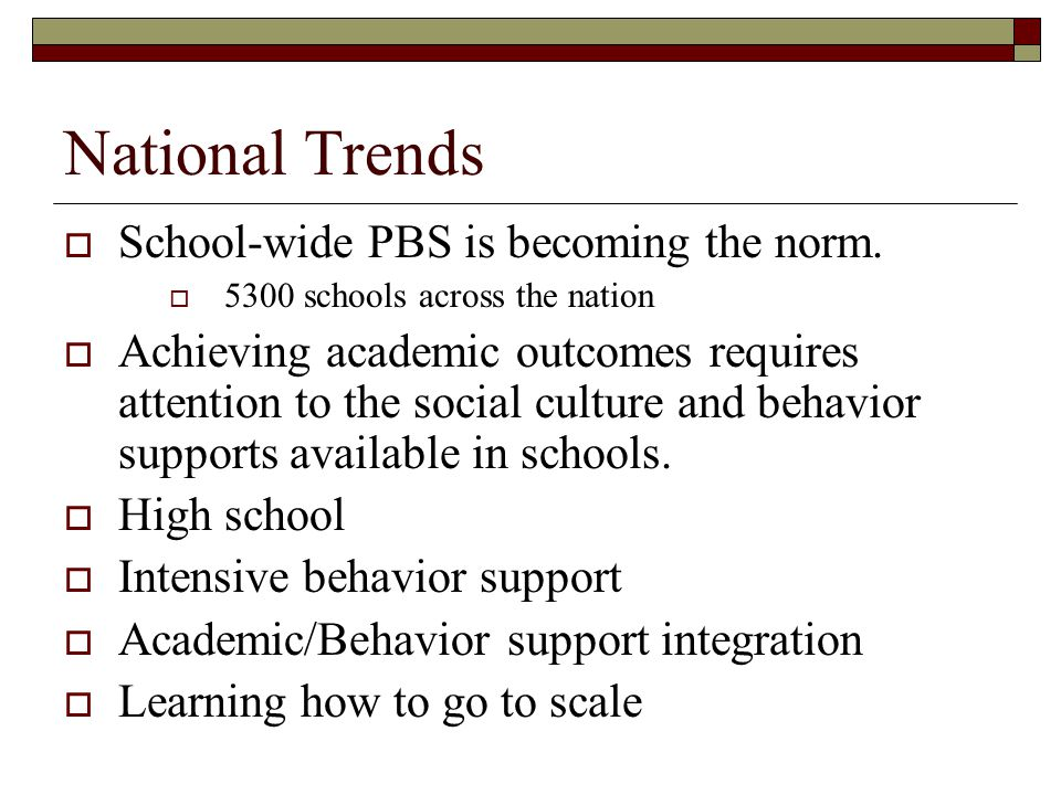 National Trends  School-wide PBS is becoming the norm.  5300 schools across the nation  Achieving academic outcomes requires attention to the socia