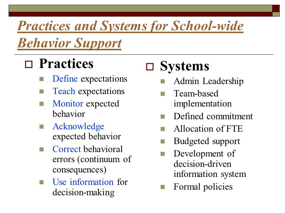 Practices and Systems for School-wide Behavior Support  Practices Define expectations Teach expectations Monitor expected behavior Acknowledge expect