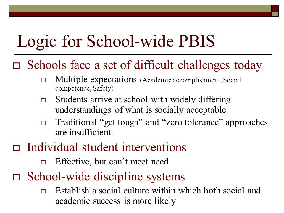 Practices and Systems for School-wide Behavior Support  Practices Define expectations Teach expectations Monitor expected behavior Acknowledge expected behavior Correct behavioral errors (continuum of consequences) Use information for decision-making  Systems Admin Leadership Team-based implementation Defined commitment Allocation of FTE Budgeted support Development of decision-driven information system Formal policies