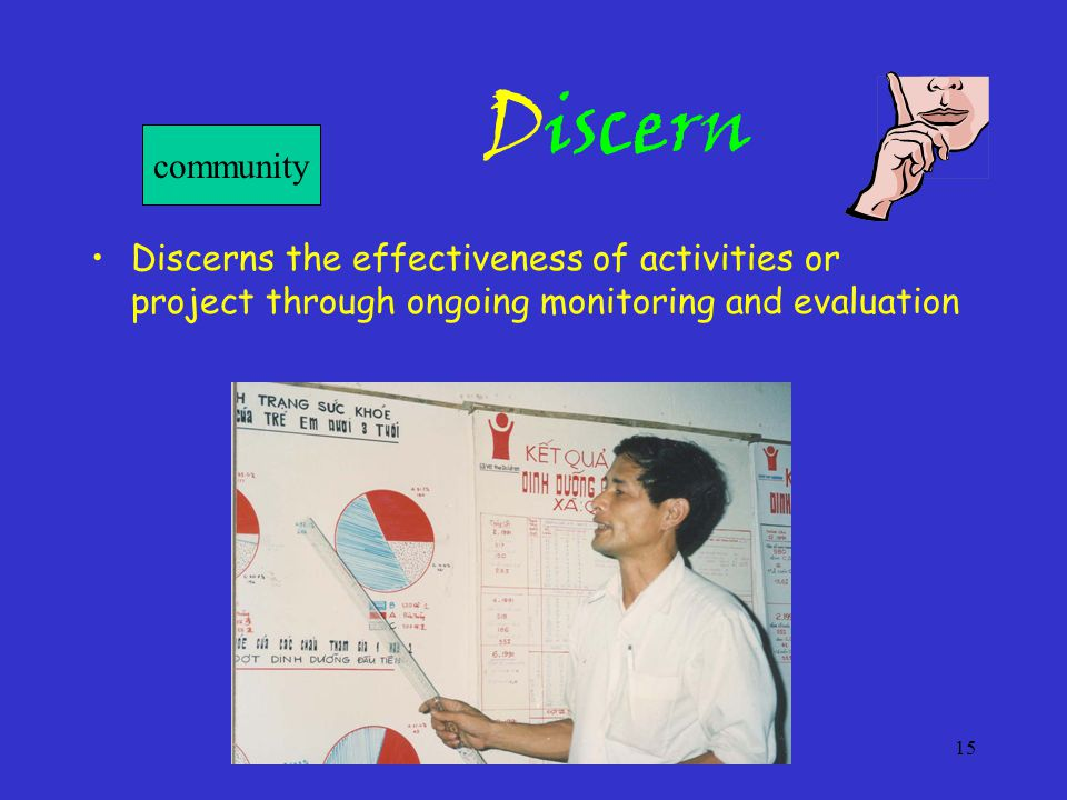 15 Discern Discerns the effectiveness of activities or project through ongoing monitoring and evaluation community