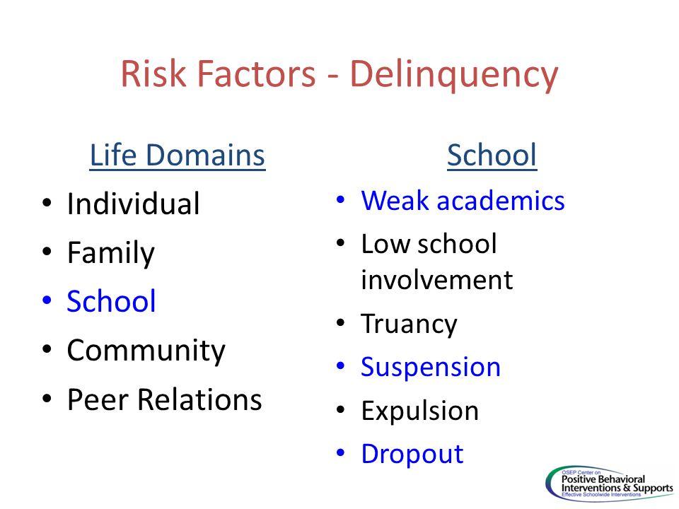 Risk Factors - Delinquency Life Domains Individual Family School Community Peer Relations School Weak academics Low school involvement Truancy Suspension Expulsion Dropout