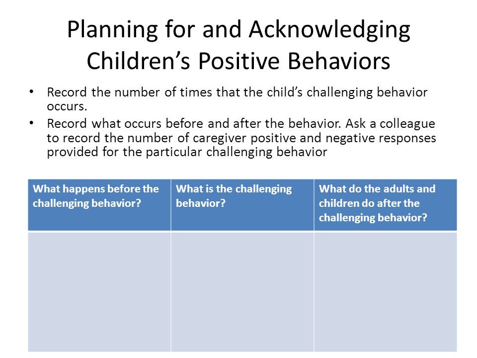 Planning for and Acknowledging Children's Positive Behaviors Record the number of times that the child's challenging behavior occurs.