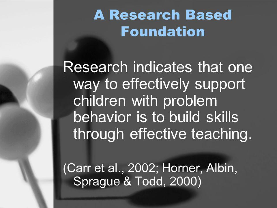 "The Foundation "" Students learn appropriate behavior in the same way they learn to read – through instruction, practice, feedback, and encouragement."""