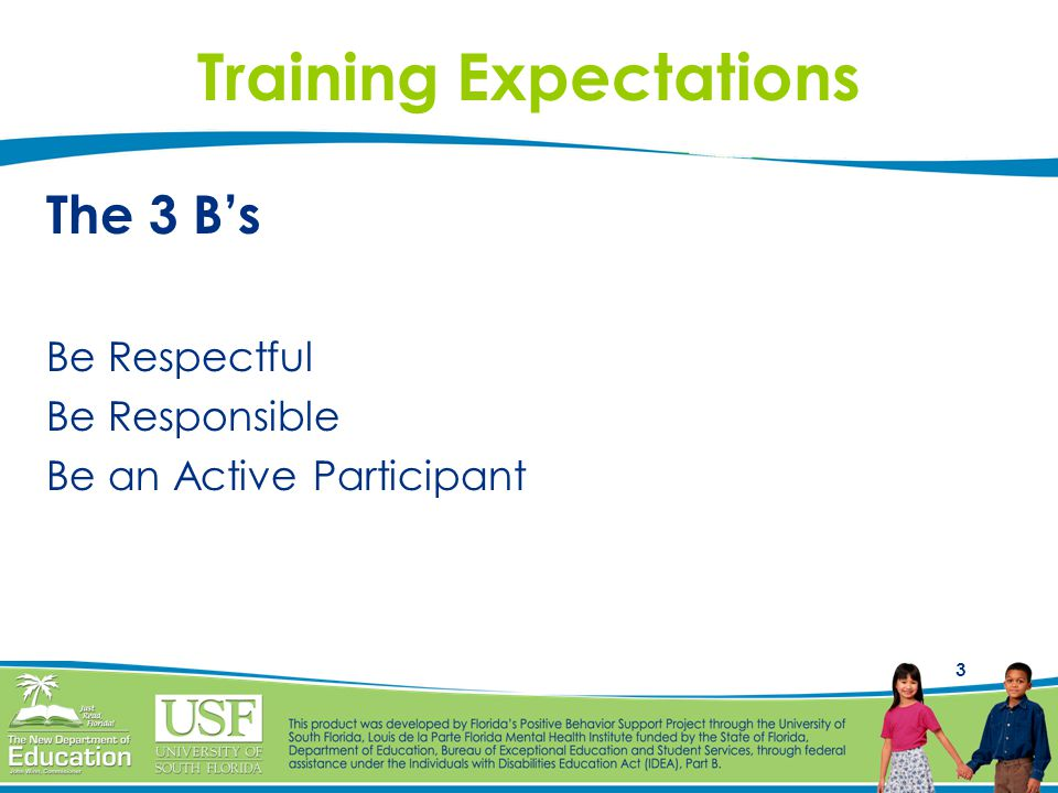 3 Training Expectations The 3 B's Be Respectful Be Responsible Be an Active Participant