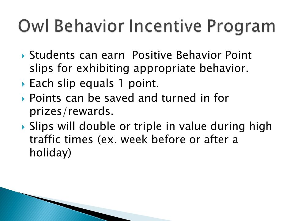  Students can earn Positive Behavior Point slips for exhibiting appropriate behavior.  Each slip equals 1 point.  Points can be saved and turned in
