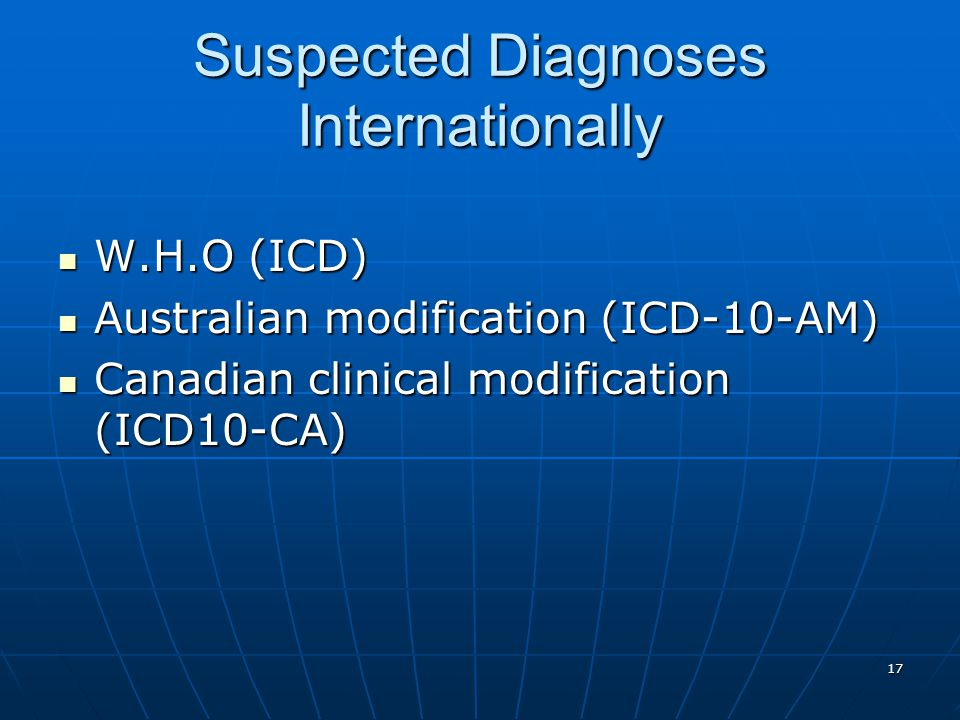 17 Suspected Diagnoses Internationally W.H.O (ICD) W.H.O (ICD) Australian modification (ICD-10-AM) Australian modification (ICD-10-AM) Canadian clinical modification (ICD10-CA) Canadian clinical modification (ICD10-CA)