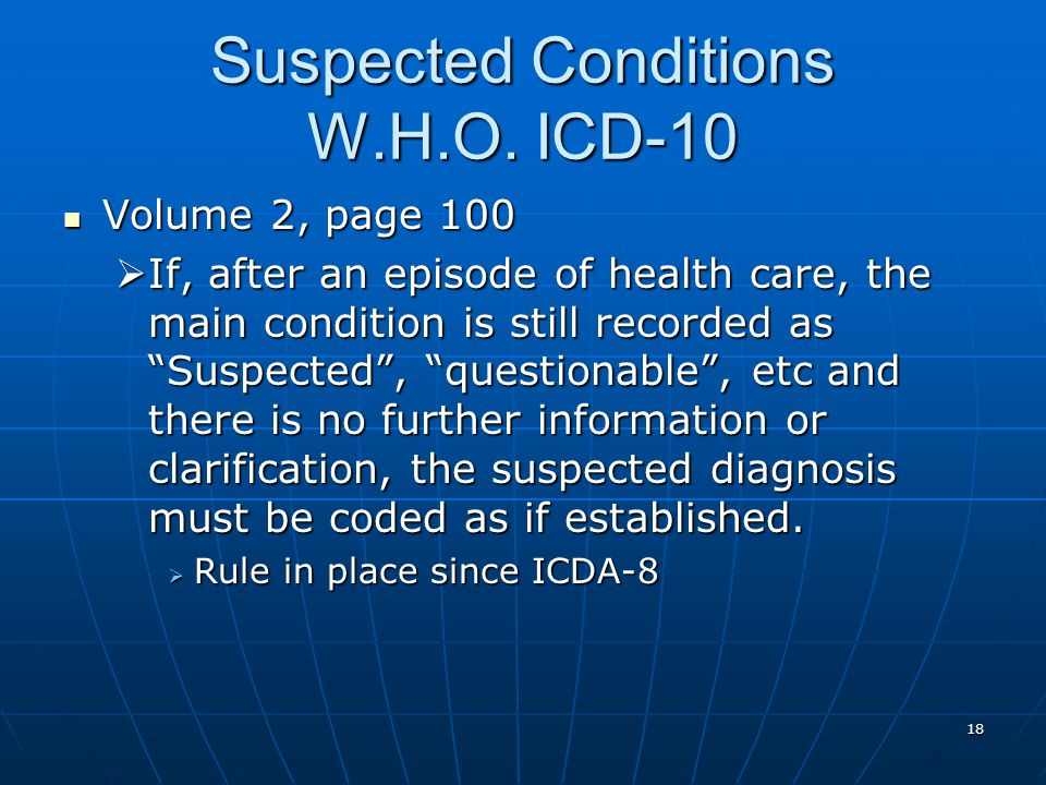 18 Suspected Conditions W.H.O.