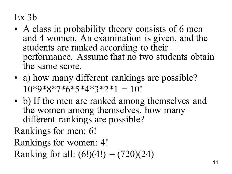 Ex 3b A class in probability theory consists of 6 men and 4 women. An examination is given, and the students are ranked according to their performance