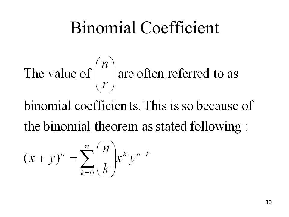 Binomial Coefficient 30