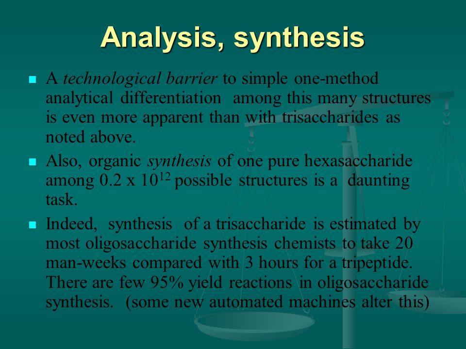 Analysis, synthesis A technological barrier to simple one-method analytical differentiation among this many structures is even more apparent than with trisaccharides as noted above.