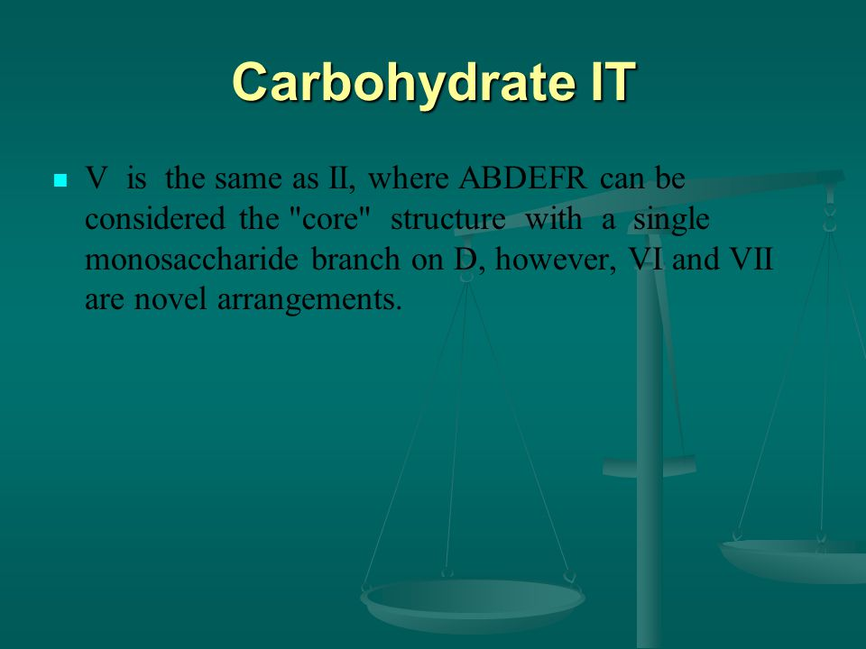 Carbohydrate IT V is the same as II, where ABDEFR can be considered the core structure with a single monosaccharide branch on D, however, VI and VII are novel arrangements.