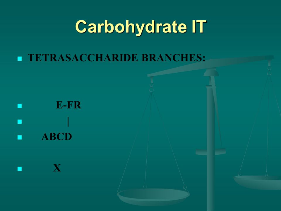 Carbohydrate IT TETRASACCHARIDE BRANCHES: E-FR | ABCD X