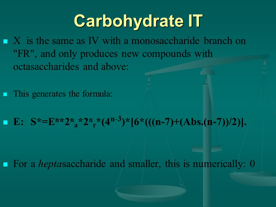 Carbohydrate IT X is the same as IV with a monosaccharide branch on FR , and only produces new compounds with octasaccharides and above: This generates the formula: E:S*=E n *2 n a *2 n r *(4 n-3 )*[6*(((n-7)+(Abs.(n-7))/2)].