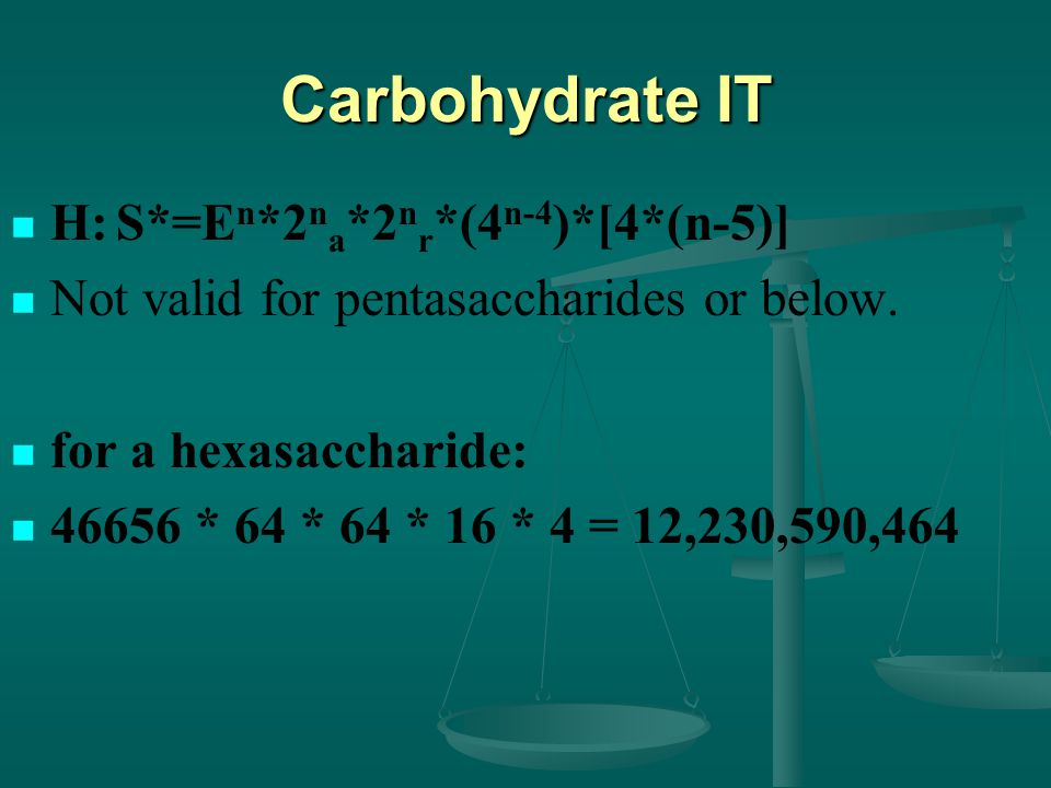 Carbohydrate IT H:S*=E n *2 n a *2 n r *(4 n-4 )*[4*(n-5)] Not valid for pentasaccharides or below.
