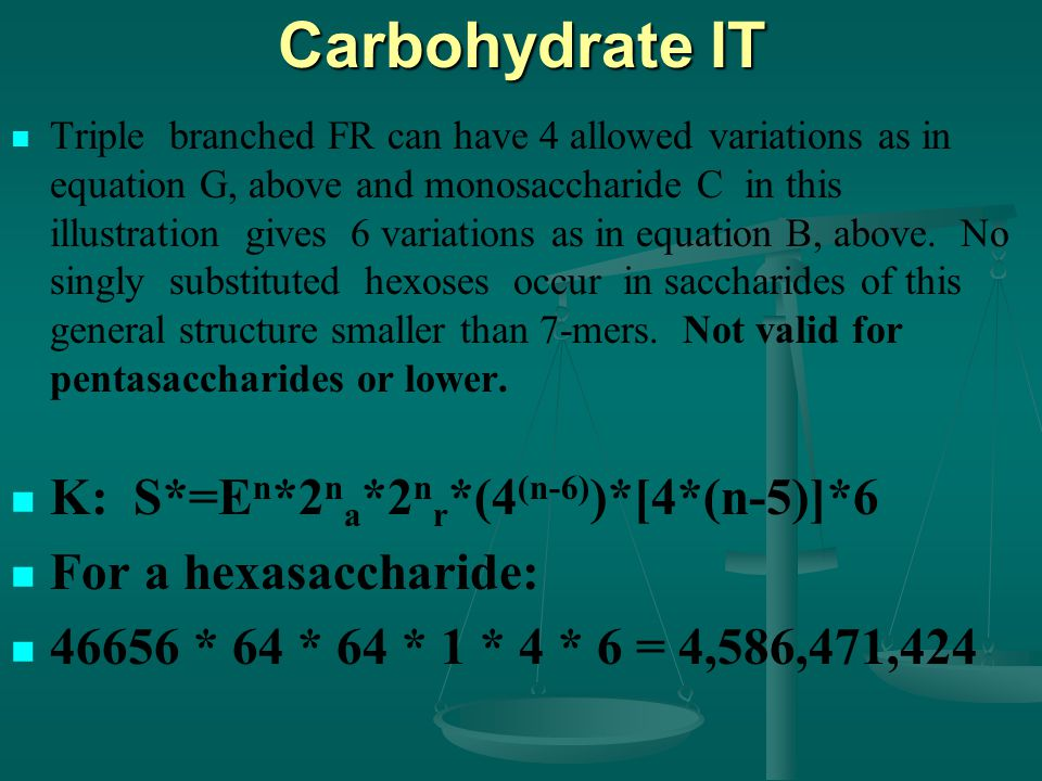 Carbohydrate IT Triple branched FR can have 4 allowed variations as in equation G, above and monosaccharide C in this illustration gives 6 variations as in equation B, above.