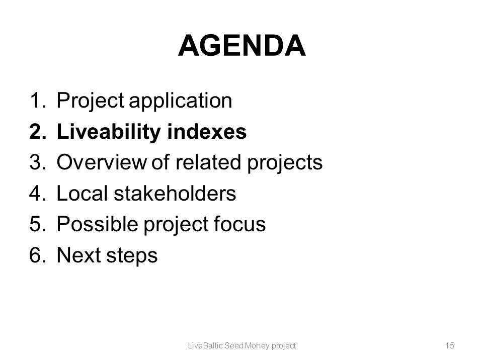 AGENDA 1.Project application 2.Liveability indexes 3.Overview of related projects 4.Local stakeholders 5.Possible project focus 6.Next steps LiveBalti