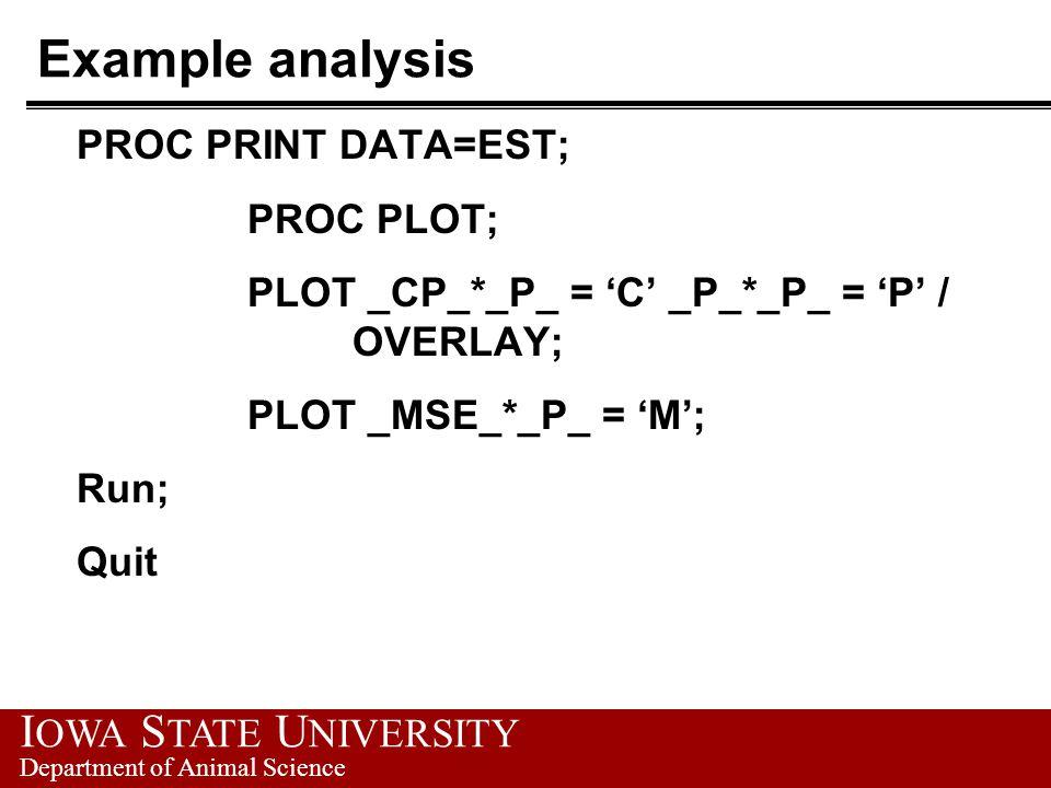 I OWA S TATE U NIVERSITY Department of Animal Science Example analysis PROC PRINT DATA=EST; PROC PLOT; PLOT _CP_*_P_ = 'C' _P_*_P_ = 'P' / OVERLAY; PLOT _MSE_*_P_ = 'M'; Run; Quit