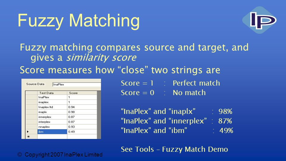© Copyright 2007 InaPlex Limited Fuzzy Matching Fuzzy matching compares source and target, and gives a similarity score Score measures how close two strings are Score = 1 : Perfect match Score = 0 : No match InaPlex and inaplx : 98% InaPlex and innerplex : 87% InaPlex and ibm : 49% See Tools – Fuzzy Match Demo