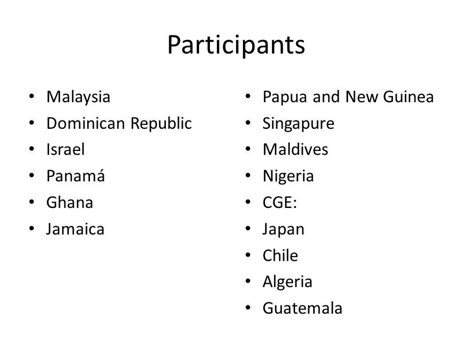 Participants Malaysia Dominican Republic Israel Panamá Ghana Jamaica Papua and New Guinea Singapure Maldives Nigeria CGE: Japan Chile Algeria Guatemal