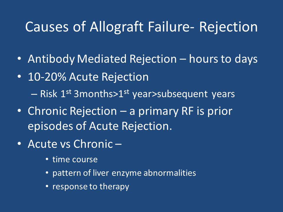 Causes of Allograft Failure- Rejection Antibody Mediated Rejection – hours to days 10-20% Acute Rejection – Risk 1 st 3months>1 st year>subsequent yea