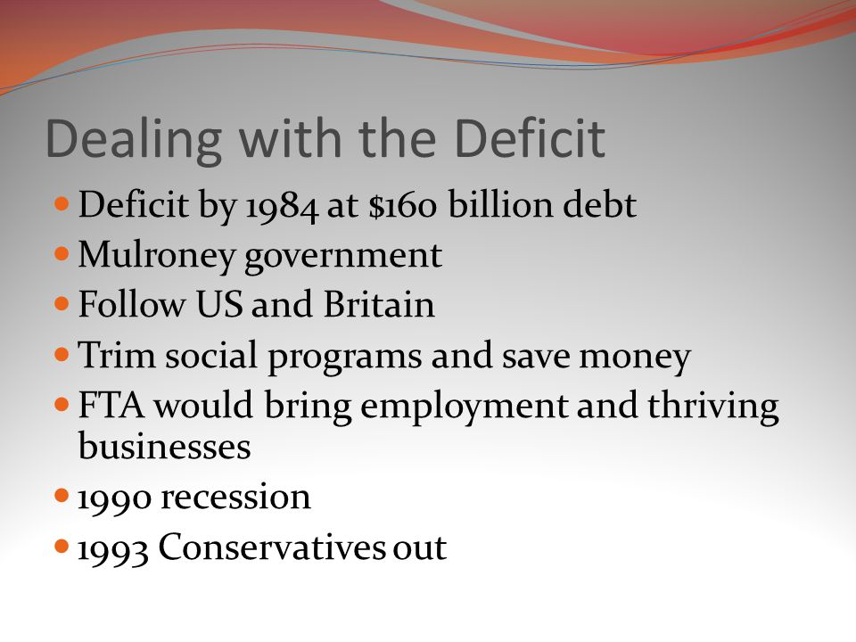 Dealing with the Deficit Deficit by 1984 at $160 billion debt Mulroney government Follow US and Britain Trim social programs and save money FTA would bring employment and thriving businesses 1990 recession 1993 Conservatives out