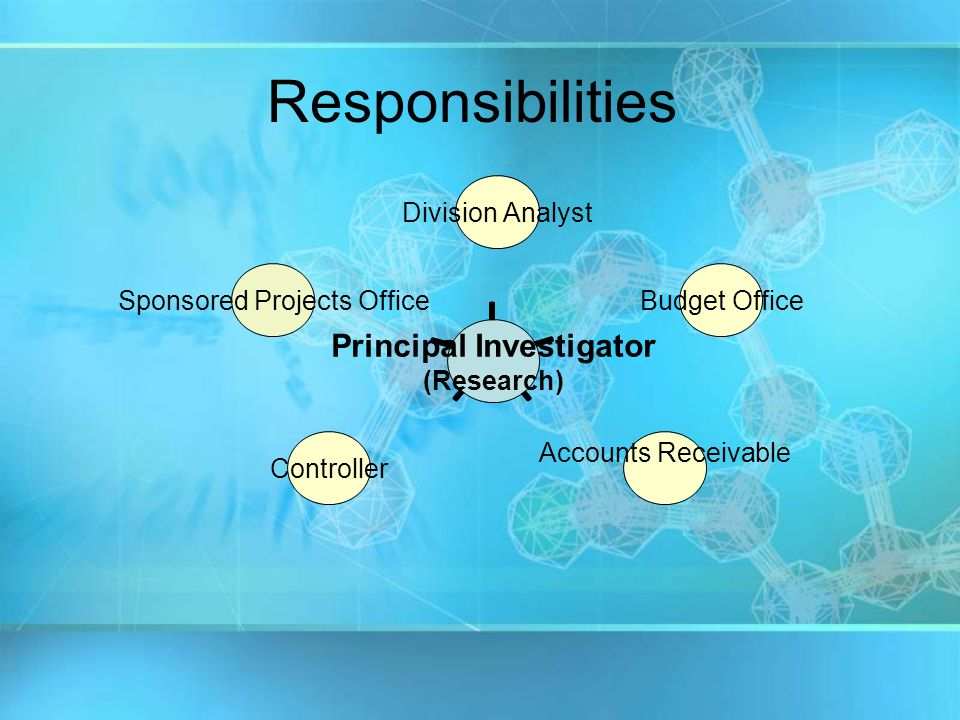 Principal Investigator (Research) Division Analyst Budget Office Accounts ReceivableController Sponsored Projects Office Responsibilities